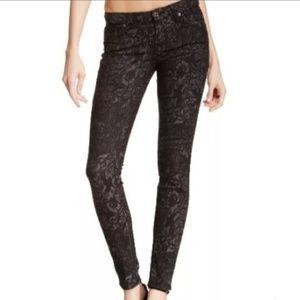 7FAMK Jeans Gwenevere Skinny Floral Jacquard Black